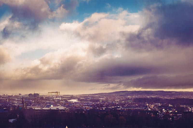 Belfast skyline from top of Ashby building, including Harland and Wolff Cranes